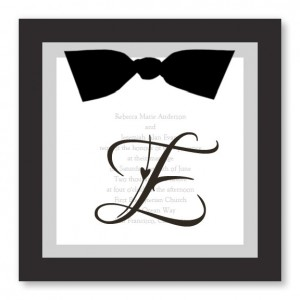 Sheer Initial Black and White Wedding Invitations