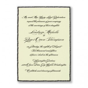 Shining Sophistication Ecru and Black Wedding Invitations