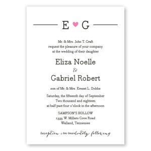 Simple Heart Wedding Invitations