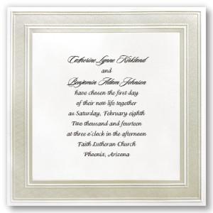 Square Pearl Border Wedding Invitations