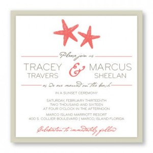 Starfish 2-Layer Square Beach Wedding Invitations