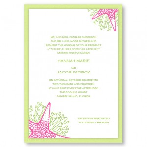 Starfish II Beach Wedding Invitations