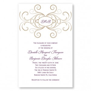 Striking Flourish Initial Letterpress Wedding Invitations