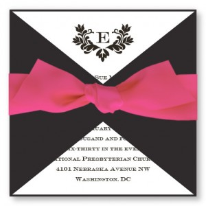 Stylish Initial Wedding Invitations with Pink Ribbon