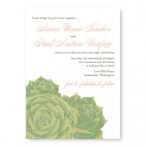Succulent Floral Wedding Invitations