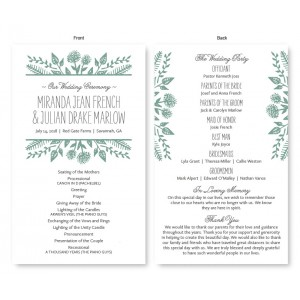 Summer Flora Wedding Program