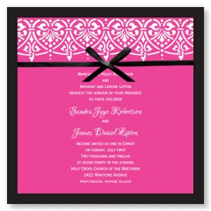 Swag of Hearts Hot PinkWedding Invitations