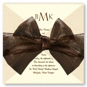 Tied With Love Ecru Wedding Invitations