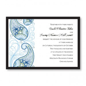 Unique Paisley Charm Wedding Invitations