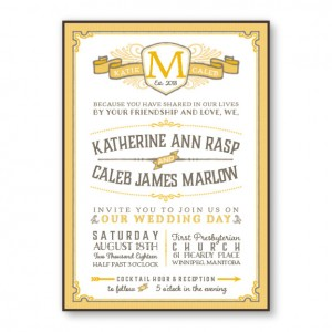 Vintage 2-Layer Monogram Wedding Invitations