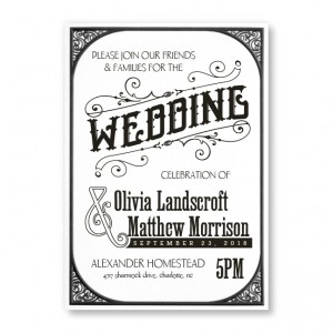 Vintage Affair White Wedding Invitations