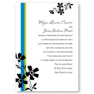Whimsy Floral Blue Wedding Invitations