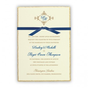 Willow Ecru Monogram Wedding Invitations