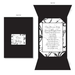 Wrapped in Love Black Folio Wedding Invitations