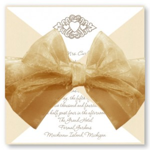 Wrapped Motif Wedding Invitations with Gold Ribbon and Ecru Wrap