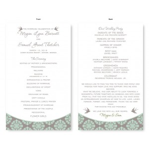 Two Birds Wedding Program