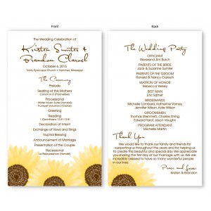 Sunflower Wedding Program