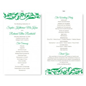 Damask Wedding Program
