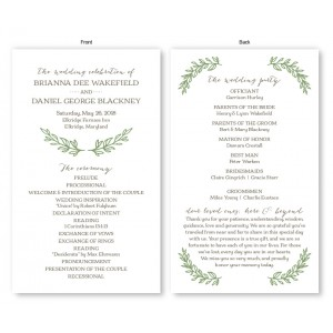 Verdant Wedding Program