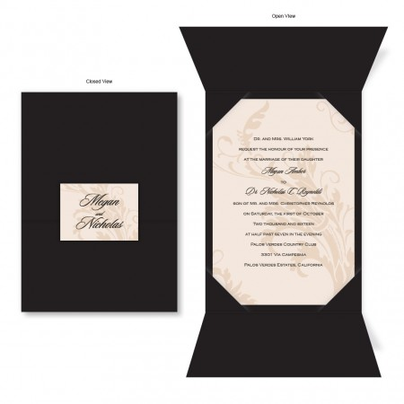 Champagne Chocolate Brown Folio Wedding Invitations; Champagne Black Folio Wedding  Invitations