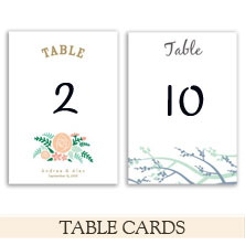 wedding table cards by the green kangaroo