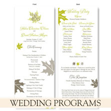 wedding programs by the green kangaroo
