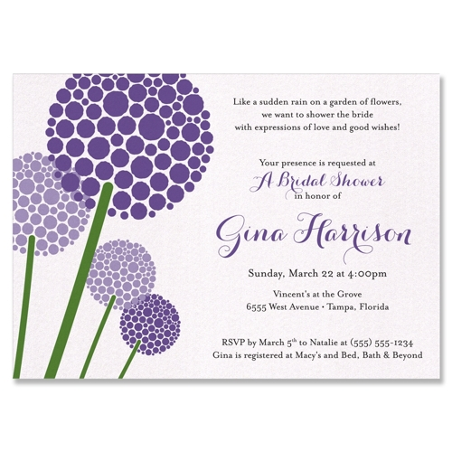 The Allium Bridal Shower Invitation on Diamond Shimmer paper with ...