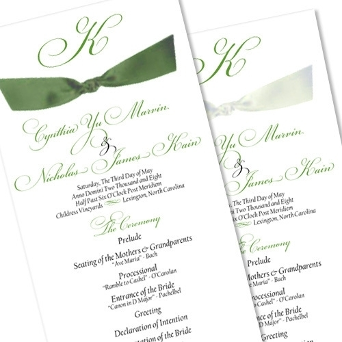 Ribbon wedding program in black and botanical inks with forest ribbon