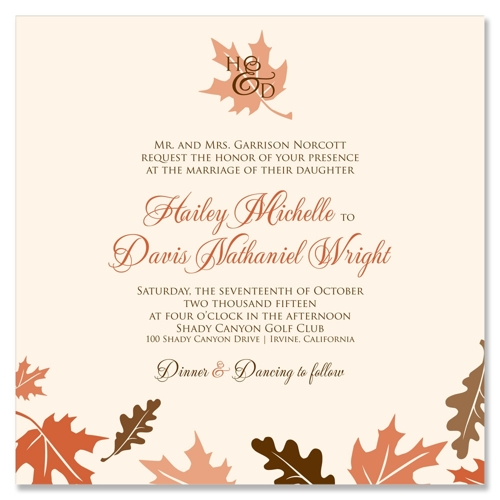 Fall Leaves Wedding Invitation on Ultra Heavy Cream paper with Harvest ...: https://www.tgkdesigns.com/p/133-fall-leaves-autumn-wedding-invitation